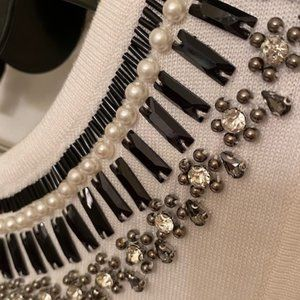 White House Black Market Ivory knit sleeveless top